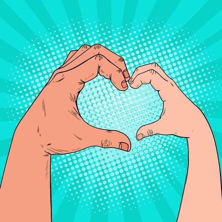 Pop Art Health Care, beneficenza, bambini donazione concetto. Le mani del bambino e dell'adulto fanno a forma di cuore. Illustrazione vettoriale