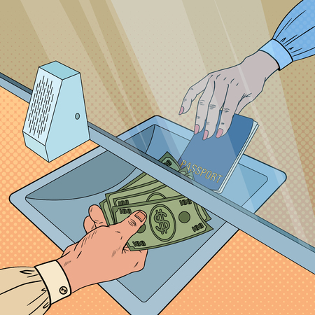 Pop Art Clerk Giving Cash Money to Customer. Currency Exchange Concept. Bank Withdrawal, Financial Operation. Vector illustration