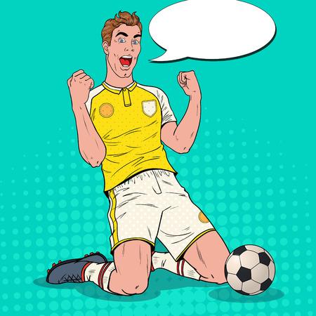 Giocatore di calcio di Pop Art che celebra obiettivo. Calciatore felice, concetto di sport, Coppa del mondo. Illustrazione vettoriale