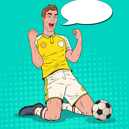 Popart voetballer doel vieren. Gelukkig voetballer, sportconcept, wereldbeker. Vector illustratie