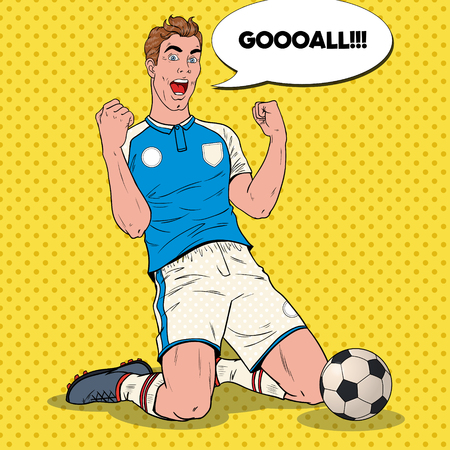 Pop Art Soccer Player Celebrating Goal. Happy Footballer, Sport Concept,  . Vector illustration