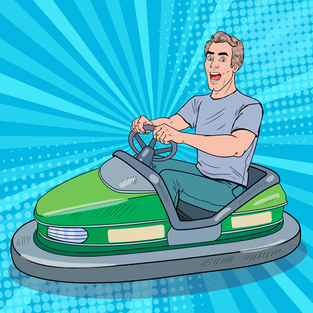 Pop Art Excited Man Riding Bumber Car at Fun Fair. Guy in Electric Car at Amusement Park. Vector illustration