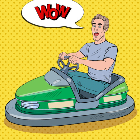 Pop Art Excited Man Riding Bumber Car at Fun Fair. Guy in Dodgem at Amusement Park. Vector illustration