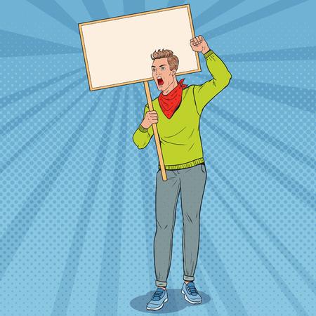 Pop Art Angry Man protestando en el piquete con pancarta en blanco. Concepto de huelga y protesta. Guy gritando en manifestación. Ilustración vectorial