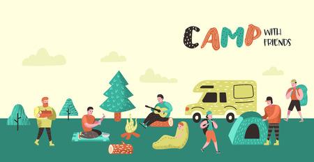 Poster di campeggio estivo, banner. Personaggi dei cartoni animati persone in background Camp. Attrezzatura da viaggio, falò, attività all'aperto. Illustrazione vettoriale