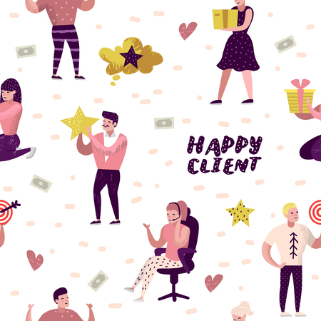 Happy Client Cartoons Seamless Pattern. Woman with Gift Box. Salesman Character, Sales Customer Service. Vector illustration Illustration
