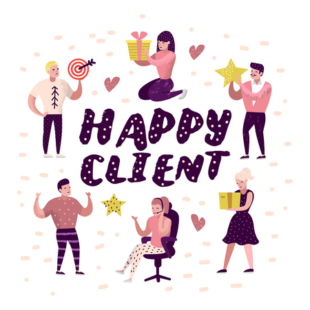 Happy Client Cartoons Set. Woman with Gift Box. Salesman Character, Sales Customer Service. Vector illustration