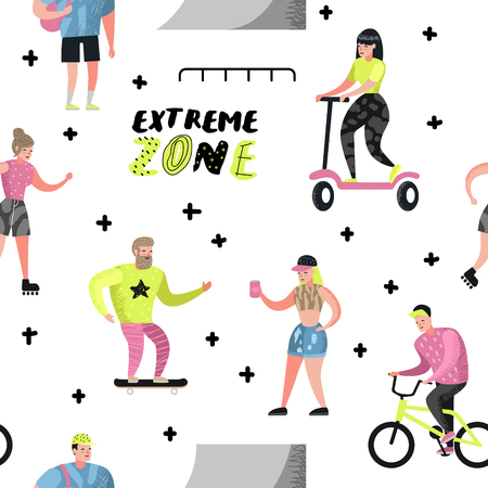 Extreme Sports Seamless Pattern with Cartoons. Teenager Skateboarding, Man on Bicycle, Girl Rolling. Active Characters People Playing Outdoor. Vector illustration