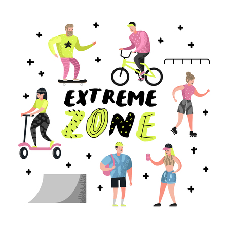Extreme Sports Cartoons. Teenager Skateboarding, Man on Bicycle, Girl Rolling. Active Characters People Playing Outdoor. Vector illustration Vectores