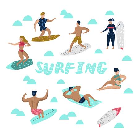 ビーチでサーフィンするキャラクター。男と女の漫画サーファー。ウォータースポーツコンセプト。ベクトルの図