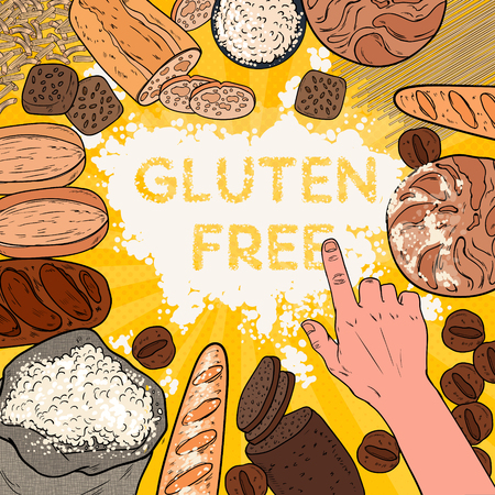 Gluten Free Background with Flour, Breads, Pastries and Bakery. Pop Art Vector illustration Vettoriali