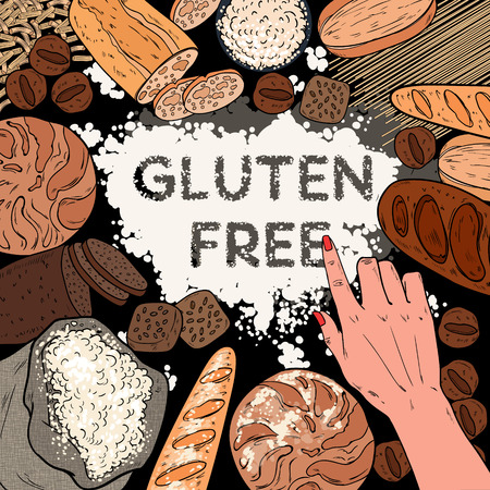 Gluten Free Background with Flour, Breads, Pastries and Bakery. Pop Art Vector illustration Illustration