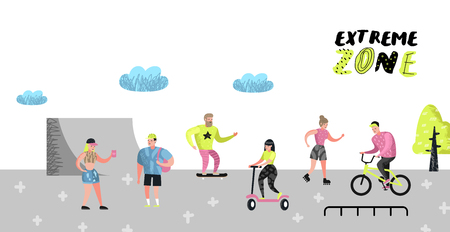 Extreme Sports Poster, Banner, Brochure. Teenager Skateboarding, Man on Bicycle, Girl Rolling. Active Characters People Playing Outdoor. Vector illustration