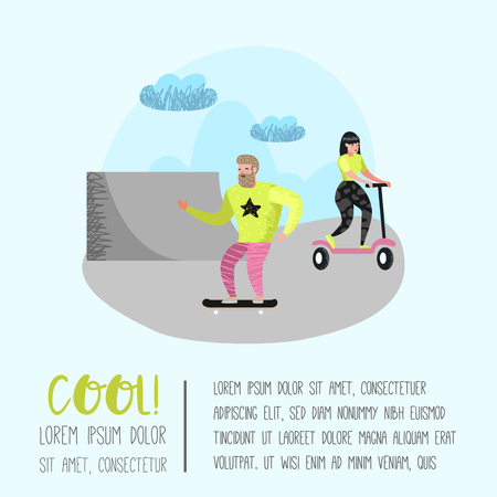 Extreme Sports Cartoons. Teenager Skateboarding, Girl Roller Skating. Active Characters People Playing Outdoor. Vector illustration Illustration