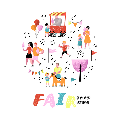 Summer Fun Fair. Amusement Park Characters with Cartoon People. Family Kids Vacation. Vector illustration