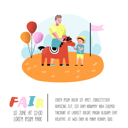 Summer Fun Fair Poster, Banner, Brochure. Amusement Park Characters Father with Son. Family Kids Vacation. Vector illustration