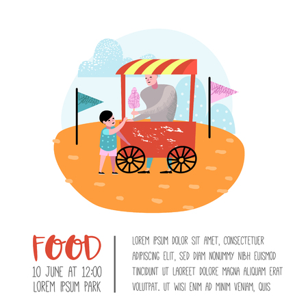 Summer Fun Fair Poster, Banner, Brochure. Amusement Park Characters Kid with Ice Cream. Family Kids Vacation. Vector illustration