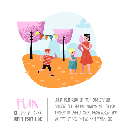 Summer Fun Fair Poster, Banner, Brochure. Amusement Park Characters Mother with Children. Family Kids Vacation. Vector illustration