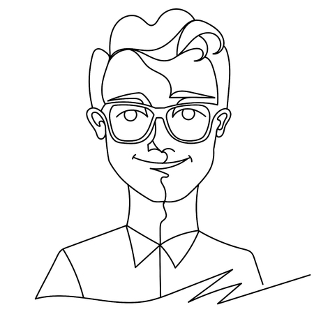 Man in Eyeglasses Smiling Portrait One Line Art. Happy Male Facial Expression. Hand Drawn Linear Man Silhouette. Illustration