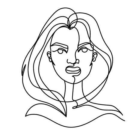 Screaming Woman One Line Art Portrait. Angry Female Facial Expression. Hand Drawn Linear Woman Silhouette.