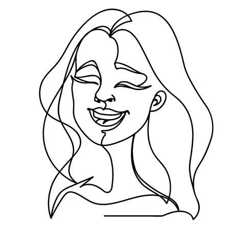 Portrait de femme en riant une ligne Art. Expression faciale féminine heureuse. Silhouette de femme linéaire dessiné à la main. Vecteurs