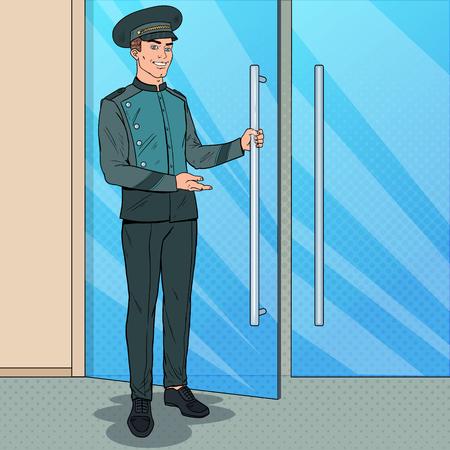 Pop Art Doorman Standing at Hotel Entrance. Doorkeeper in Uniform. Luxury Hotel Service.