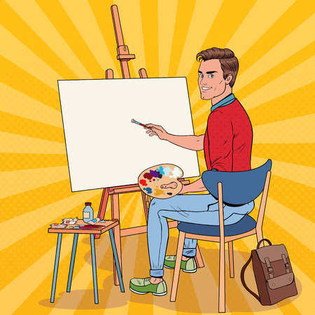 Pop Art Male Artist Painting at the Studio. Man Painter in Workshop. 일러스트