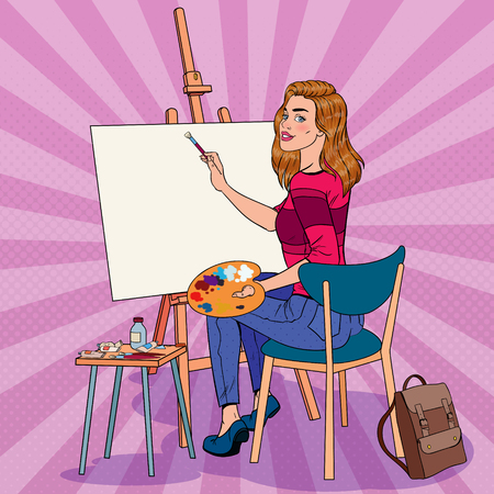 Pop Art Female Artist Painting at the Studio. Woman Painter in Workshop.