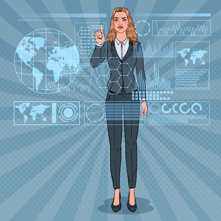 Pop Art Business Woman Using Virtual Holographic Interface. Futuristic Technology Touchscreen.