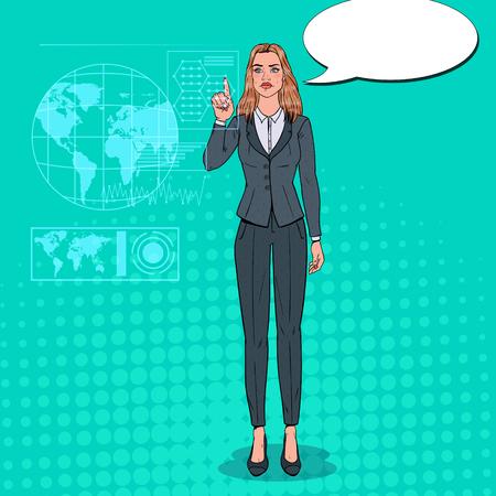 Pop Art Business Woman Using Virtual Holographic Interface. Futuristic Technology Touchscreen.