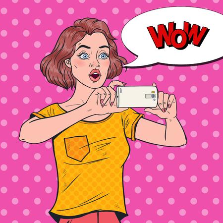 Pop Art Shocked Woman Making Video on Smartphone. Teenager Girl Taking Photo on Mobile Phone.