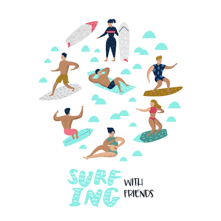 Characters People Surfing at the Beach. Man and Woman Cartoon Surfers. Water Sport Concept.