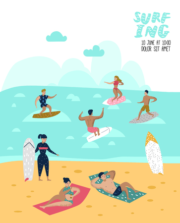 Characters People Surfing at the Beach Poster, Banner, Brochure. Man and Woman Cartoon Surfers. Water Sport Concept.