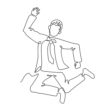 Jumping Businessman Continuous Line Art. Successful People Celebrating. Business Teamwork Linear Concept.