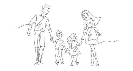 Kontinuierliche Linie Eltern, die mit Kindern gehen. Einzeilige glückliche Familie. Kontur Menschen im Freien. Elterncharaktere.