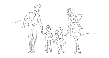 Continuous Line Parents Walking with Children. One Line Happy Family. Contour People Outdoor. Parenting Characters.