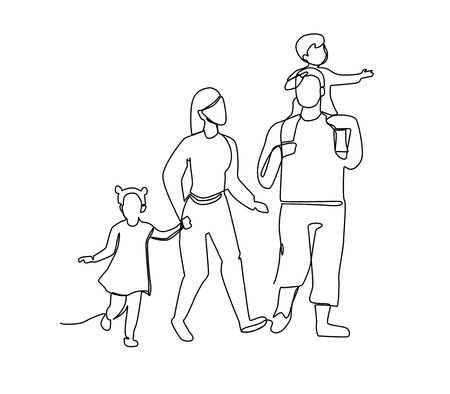 Continuous Line Parents Walking with Children. One Line Happy Family. Contour People Outdoor. Parenting Characters. 스톡 콘텐츠 - 105037413