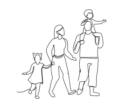 Kontinuierliche Linie Eltern, die mit Kindern gehen. Einzeilige glückliche Familie. Kontur Menschen im Freien. Elterncharaktere. Vektorgrafik