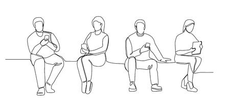 Ludzie z gadżetami Ciągła grafika liniowa. Mężczyzna i kobieta za pomocą smartfonów jedna linia sylwetka. Technologie mobilne.