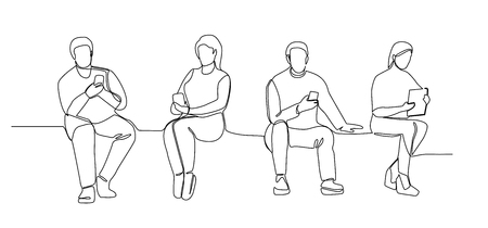 People with Gadgets Continuous Line Art. Man and Woman Using Smartphones One Line Silhouette. Mobile Technologies. Vettoriali