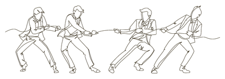 Businessman Pulling the Rope Continuous Line Art. Business Teamwork Linear Concept. Silhouette People Competition.
