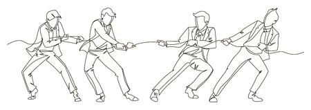 Uomo d'affari tirando la corda linea continua arte. Concetto lineare di lavoro di squadra di affari. Silhouette persone concorrenza. Vettoriali