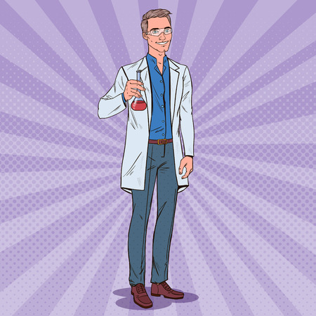 Pop Art Man Scientist with Flask. Male Laboratory Researcher. Chemistry Pharmacology Concept. Stockfoto - 105037414