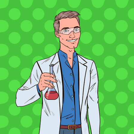 Pop Art Man Scientist with Flask. Male Laboratory Researcher. Chemistry Pharmacology Concept.