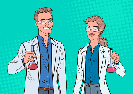 Pop Art Man and Woman Scientists with Flask. Laboratory Researchers. Chemistry Pharmacology Concept. Illustration