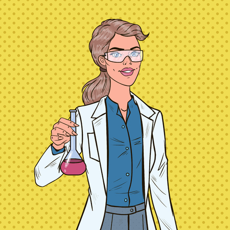 Pop Art Woman Scientist with Flask. Female Laboratory Researcher. Chemistry Pharmacology Concept.