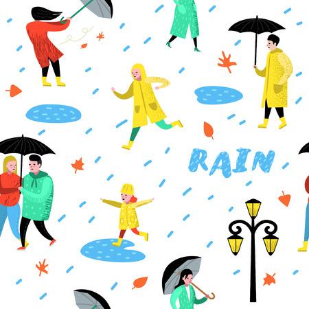 Characters People Walking in the Rain Seamless Pattern. Cartoons in Raincoats with Umbrella. Autumn Rainy Weather, Fall Season. Vector illustration