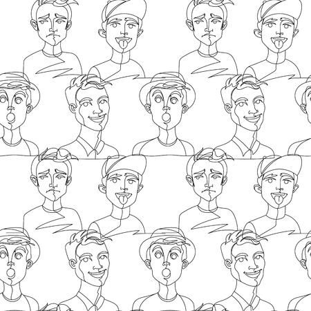 Modèle sans couture avec un dessin au trait Man Portrait. Expression faciale masculine. Fond de silhouette homme linéaire dessiné à la main. Illustration vectorielle