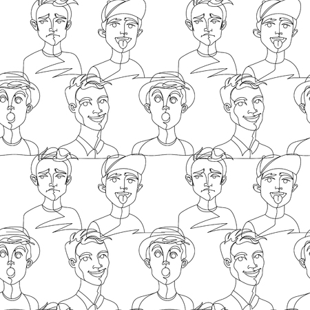 Seamless Pattern with Man Portrait One Line Art. Male Facial Expression. Hand Drawn Linear Man Silhouette Background. Vector illustration Ilustração