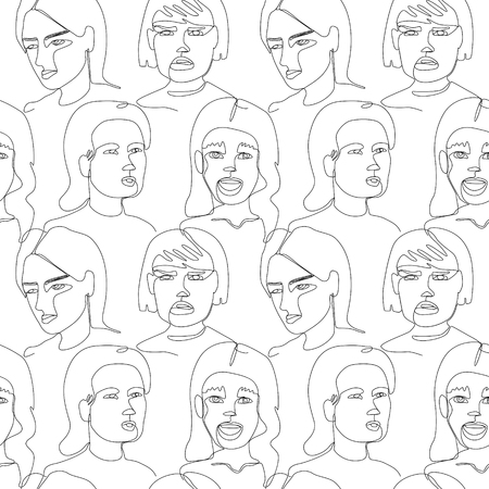 Seamless Pattern with Woman Faces One Line Art Portrait. Female Facial Expression. Hand Drawn Linear Woman Silhouette Background. Vector illustration Vecteurs